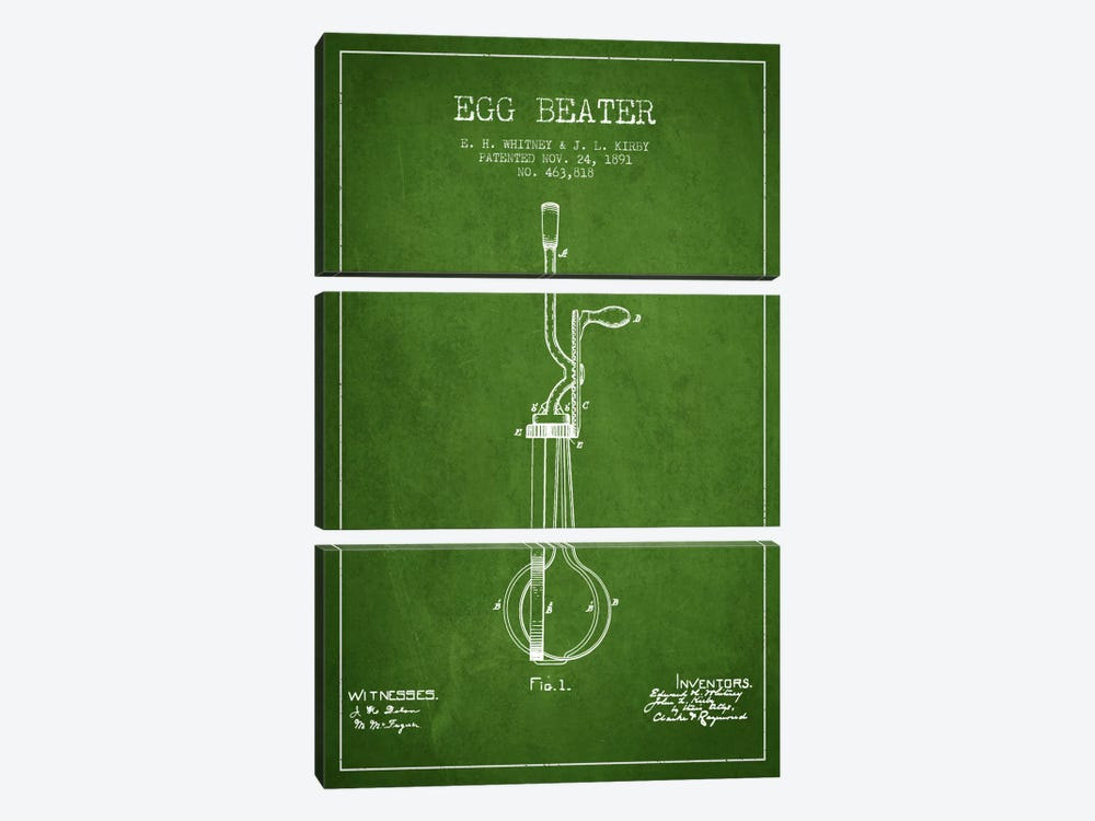 Egg Beater Green Patent Blueprint by Aged Pixel 3-piece Canvas Art Print