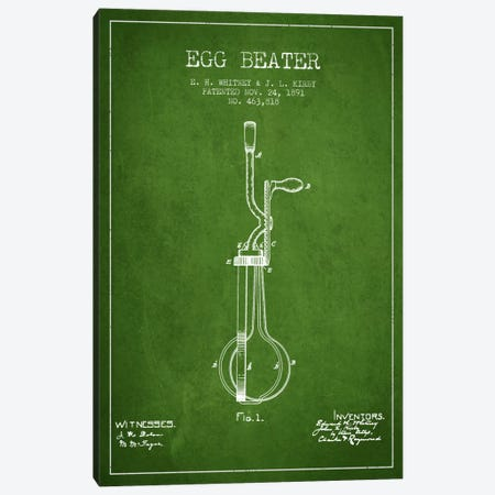 Egg Beater Green Patent Blueprint Canvas Print #ADP805} by Aged Pixel Canvas Wall Art