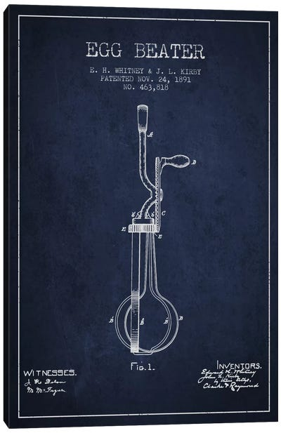 Egg Beater Navy Blue Patent Blueprint Canvas Art Print