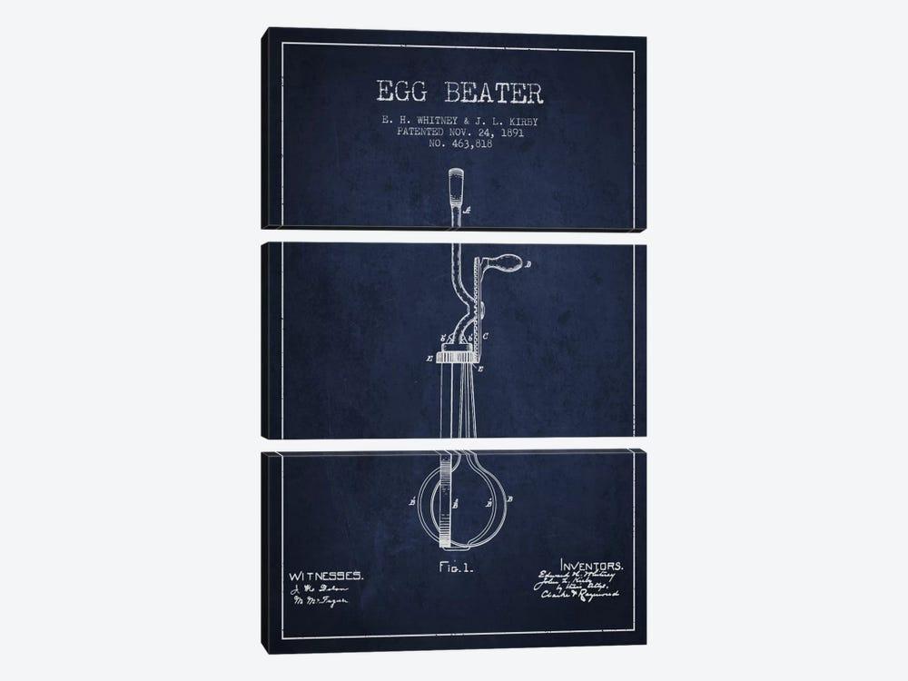 Egg Beater Navy Blue Patent Blueprint by Aged Pixel 3-piece Canvas Artwork