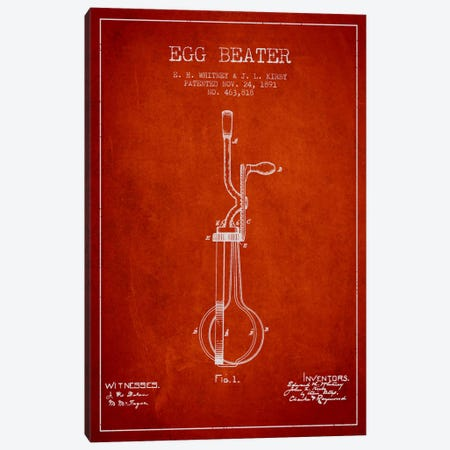 Egg Beater Red Patent Blueprint 3-Piece Canvas #ADP807} by Aged Pixel Canvas Art