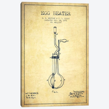 Egg Beater Vintage Patent Blueprint Canvas Print #ADP808} by Aged Pixel Canvas Art Print