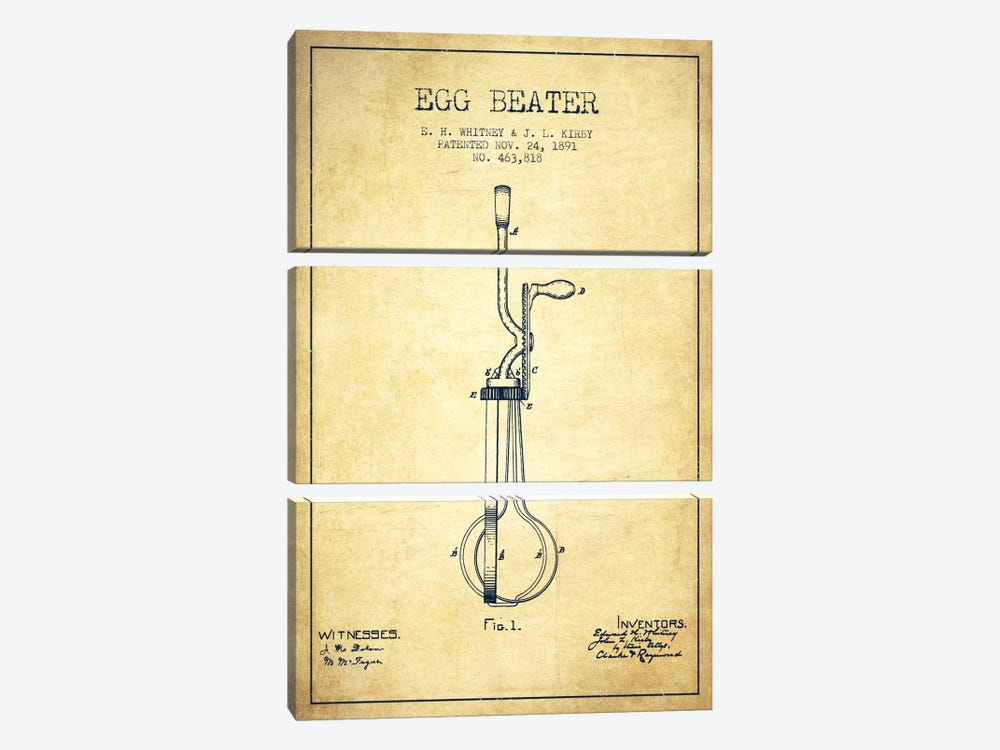 Egg Beater Vintage Patent Blueprint by Aged Pixel 3-piece Canvas Wall Art