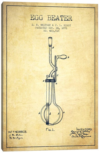 Egg Beater Vintage Patent Blueprint Canvas Art Print