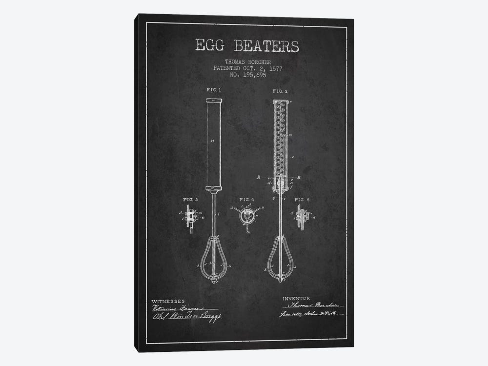 Egg Beater Charcoal Patent Blueprint by Aged Pixel 1-piece Canvas Print