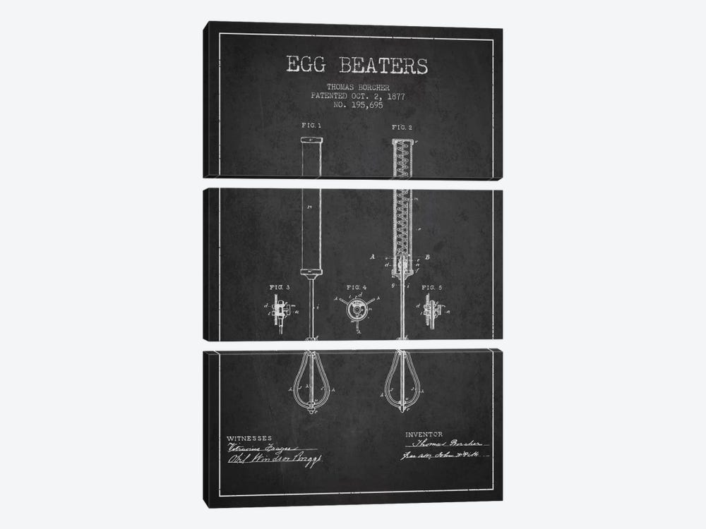 Egg Beater Charcoal Patent Blueprint by Aged Pixel 3-piece Canvas Print