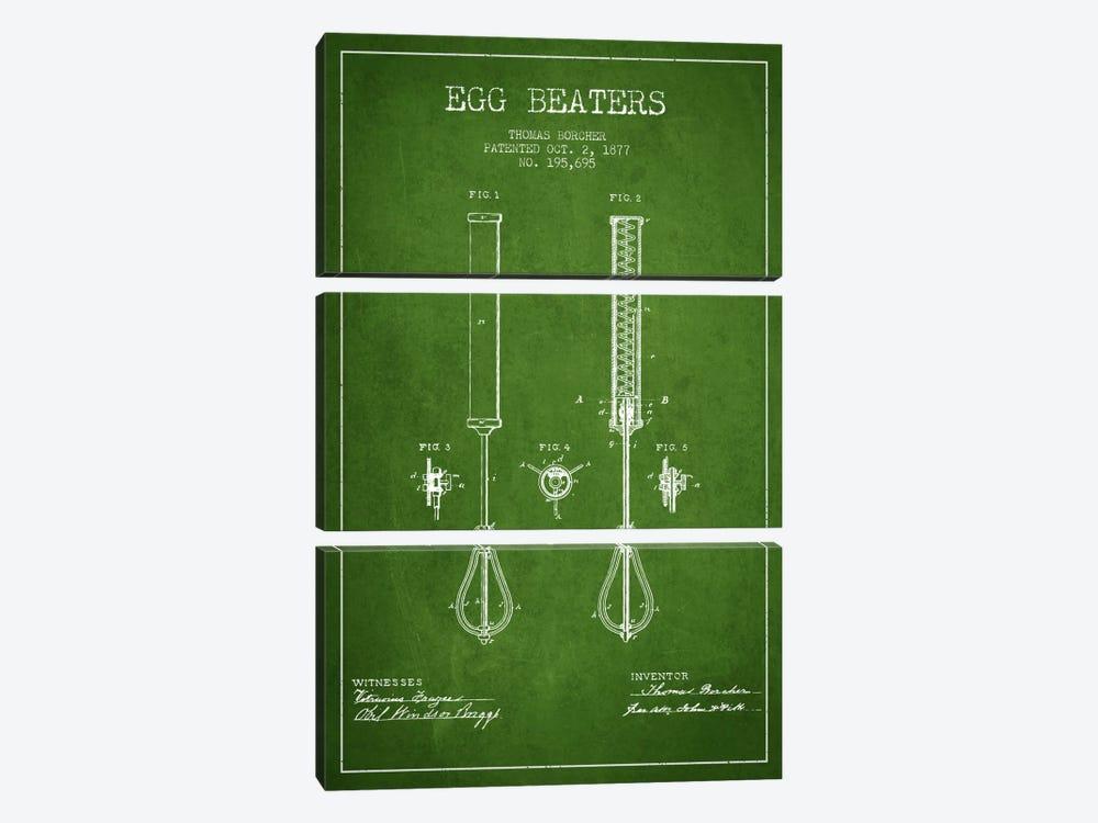 Egg Beater Green Patent Blueprint by Aged Pixel 3-piece Canvas Art Print