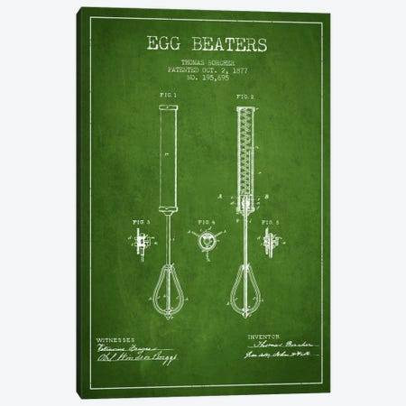 Egg Beater Green Patent Blueprint 3-Piece Canvas #ADP810} by Aged Pixel Canvas Wall Art