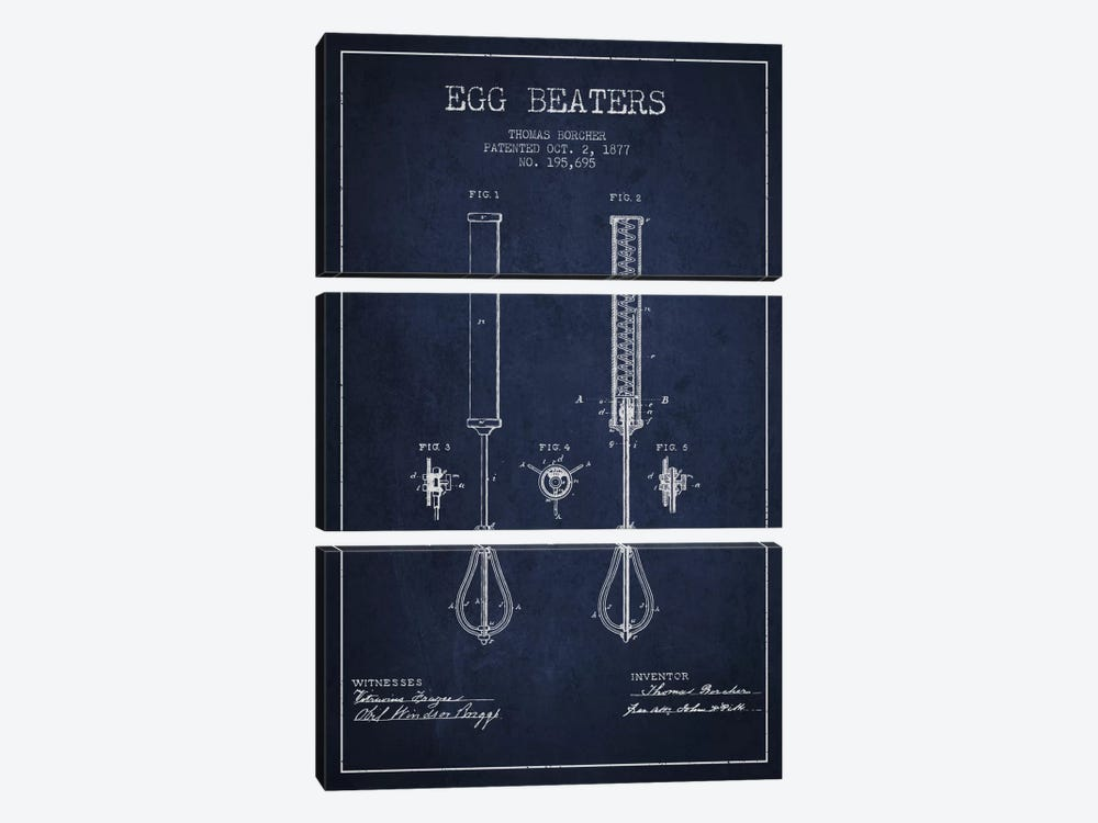 Egg Beater Navy Blue Patent Blueprint by Aged Pixel 3-piece Canvas Artwork