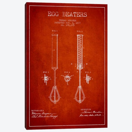 Egg Beater Red Patent Blueprint Canvas Print #ADP812} by Aged Pixel Canvas Wall Art