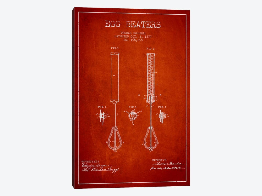 Egg Beater Red Patent Blueprint by Aged Pixel 1-piece Canvas Print