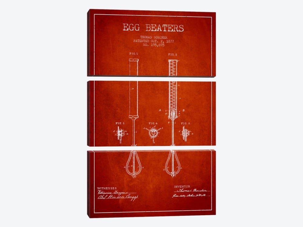 Egg Beater Red Patent Blueprint by Aged Pixel 3-piece Canvas Print