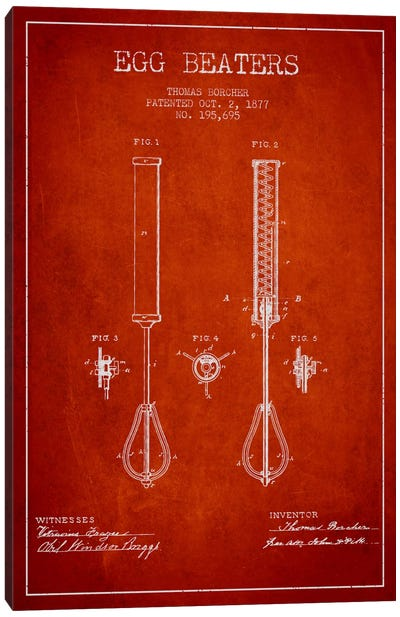 Egg Beater Red Patent Blueprint Canvas Art Print