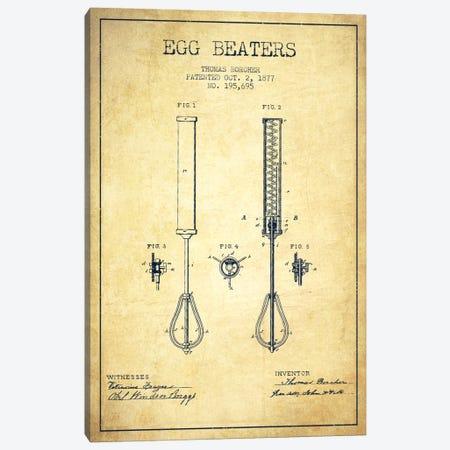 Egg Beater Vintage Patent Blueprint Canvas Print #ADP813} by Aged Pixel Canvas Art