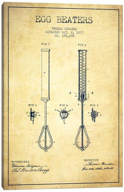 Egg Beater Vintage Patent Blueprint Canvas Art Print