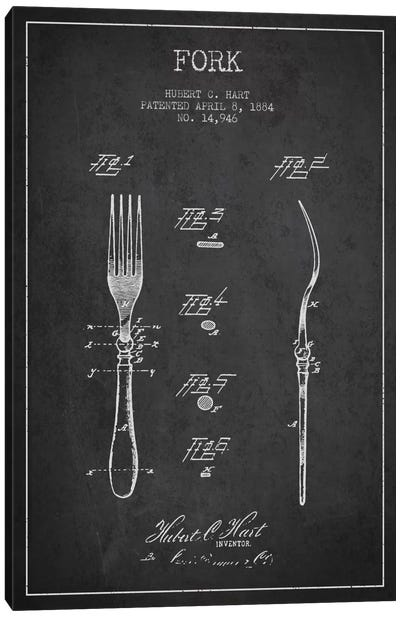 Fork Charcoal Patent Blueprint Canvas Art Print