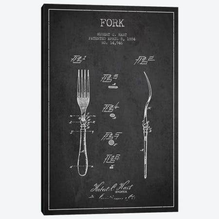 Fork Charcoal Patent Blueprint Canvas Print #ADP814} by Aged Pixel Canvas Print