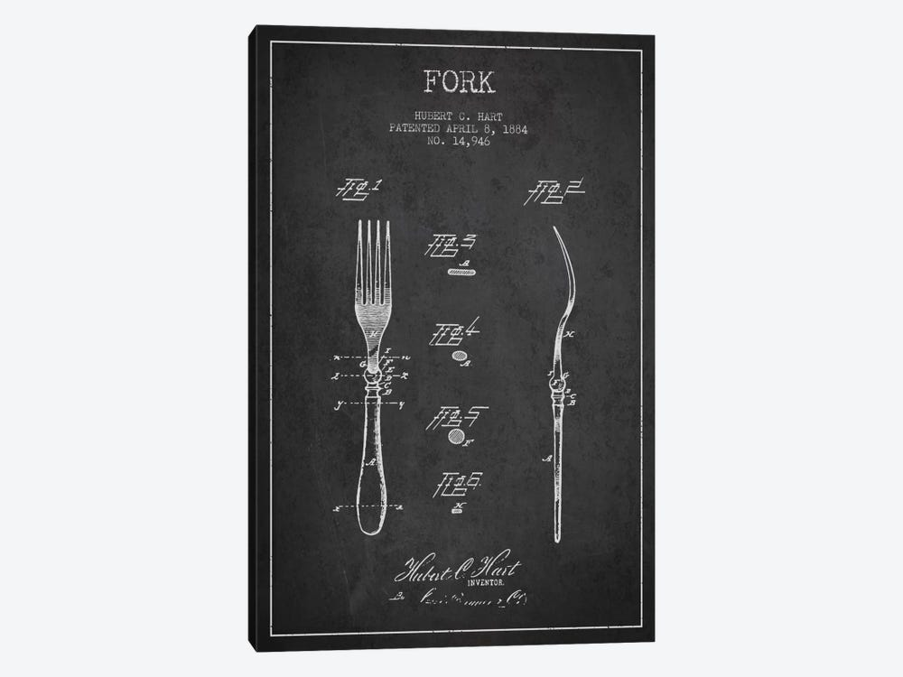 Fork Charcoal Patent Blueprint by Aged Pixel 1-piece Canvas Print