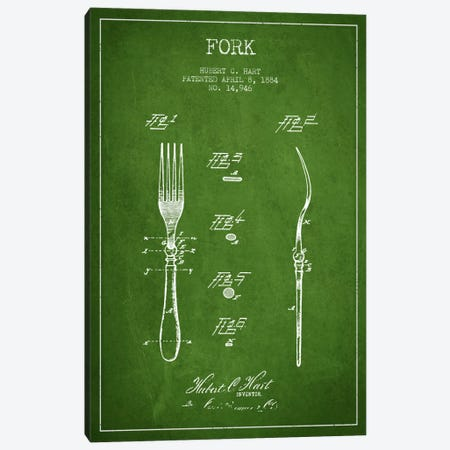 Fork Green Patent Blueprint Canvas Print #ADP815} by Aged Pixel Canvas Print