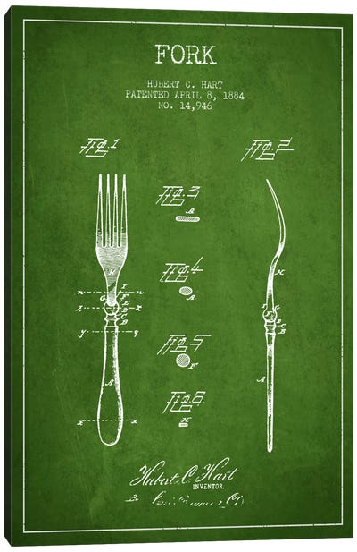 Fork Green Patent Blueprint Canvas Art Print
