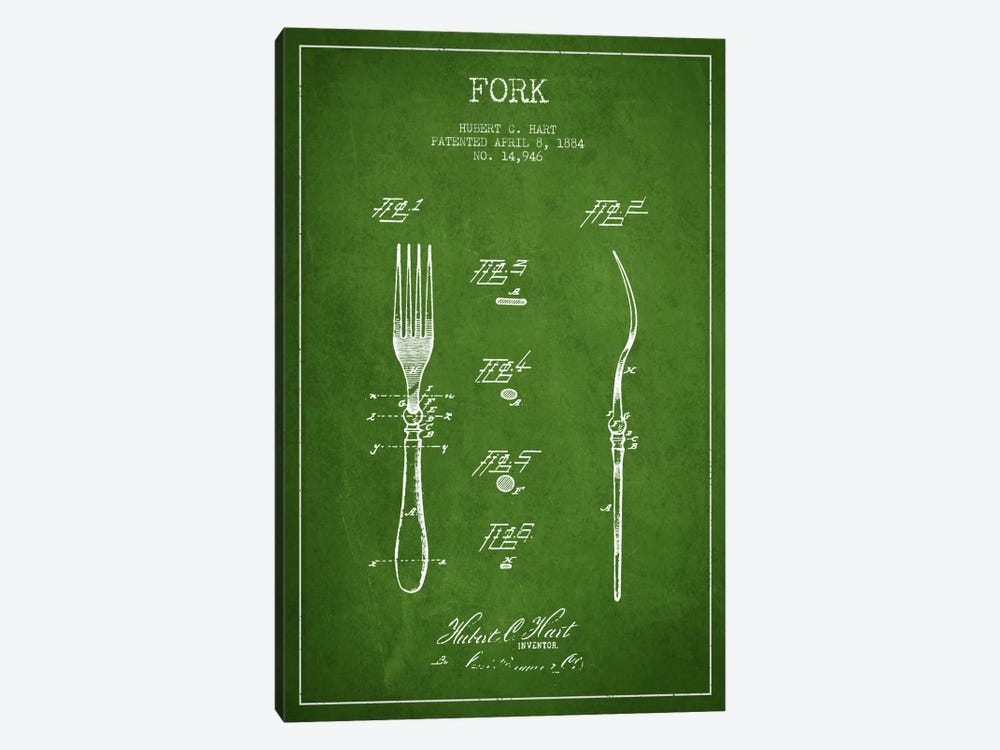 Fork Green Patent Blueprint by Aged Pixel 1-piece Canvas Wall Art