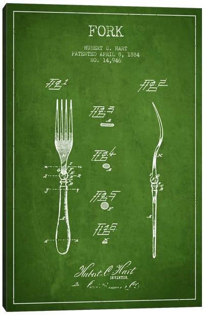 Fork Green Patent Blueprint Canvas Art Print