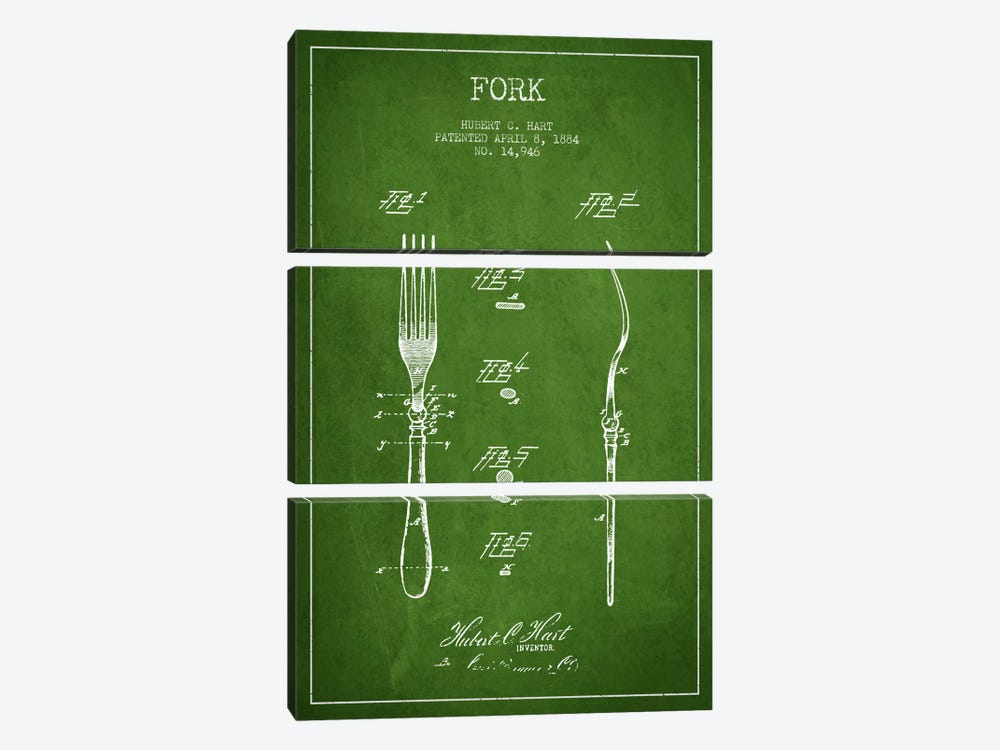 Fork Green Patent Blueprint by Aged Pixel 3-piece Canvas Artwork