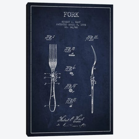 Fork Navy Blue Patent Blueprint Canvas Print #ADP816} by Aged Pixel Art Print