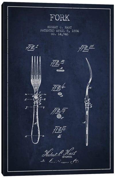 Fork Navy Blue Patent Blueprint Canvas Print #ADP816