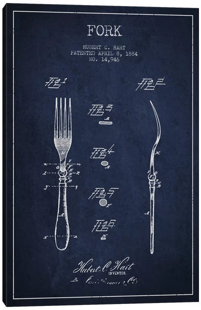 Fork Navy Blue Patent Blueprint Canvas Art Print