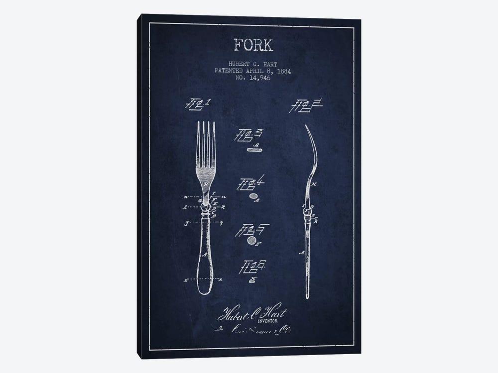 Fork Navy Blue Patent Blueprint by Aged Pixel 1-piece Canvas Art Print
