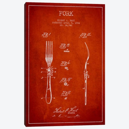 Fork Red Patent Blueprint Canvas Print #ADP817} by Aged Pixel Canvas Print