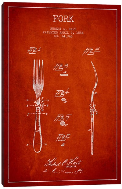 Fork Red Patent Blueprint Canvas Art Print
