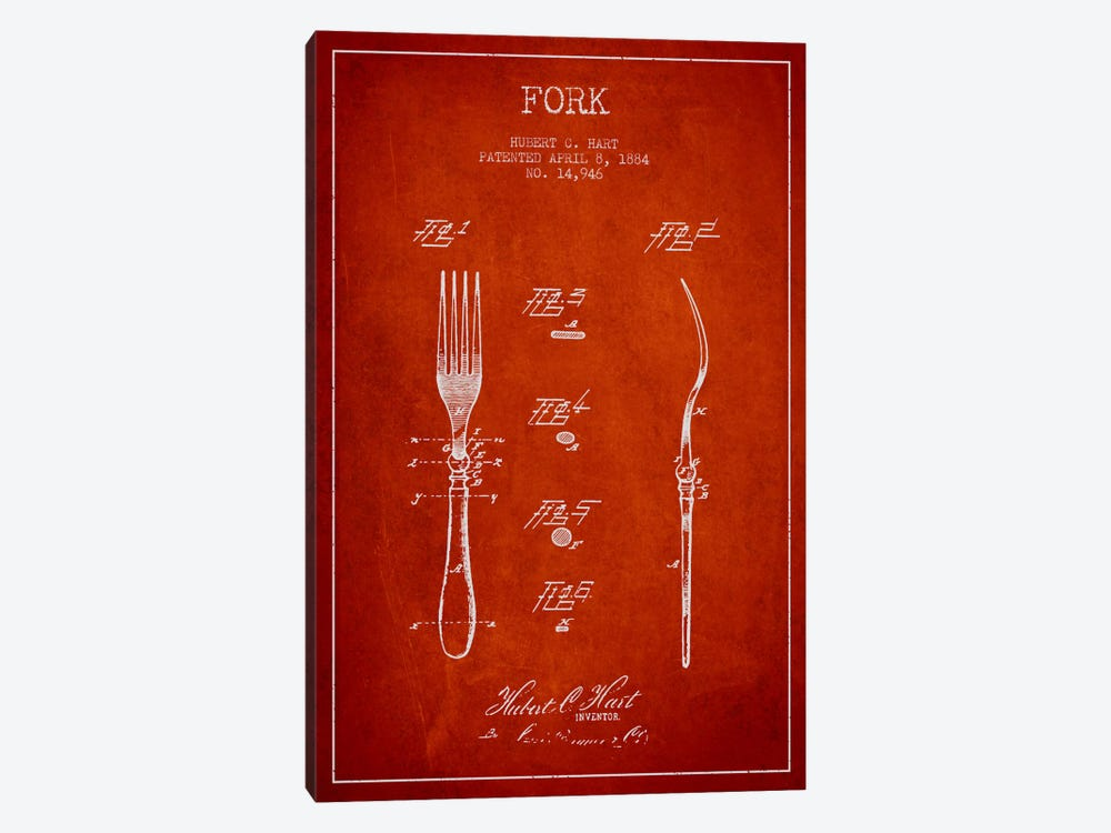 Fork Red Patent Blueprint by Aged Pixel 1-piece Canvas Art