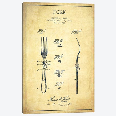 Fork Vintage Patent Blueprint Canvas Print #ADP818} by Aged Pixel Canvas Wall Art