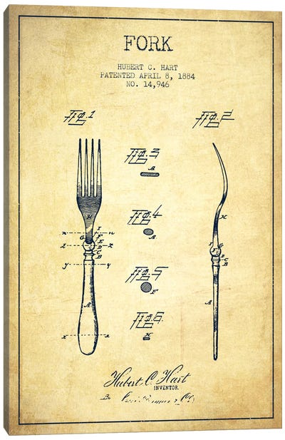 Fork Vintage Patent Blueprint Canvas Art Print