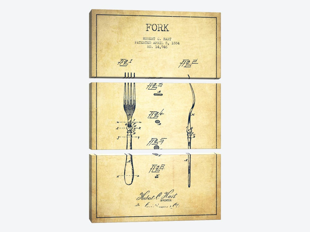 Fork Vintage Patent Blueprint by Aged Pixel 3-piece Canvas Print