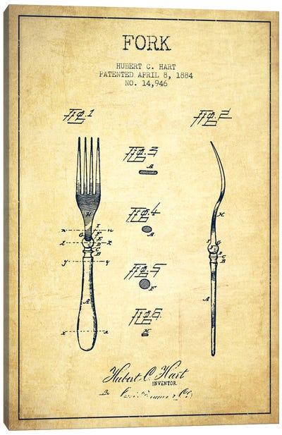 Fork Vintage Patent Blueprint Canvas Art Print