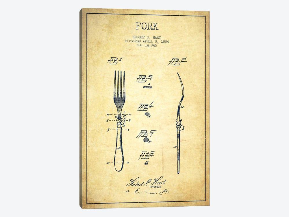 Fork Vintage Patent Blueprint by Aged Pixel 1-piece Canvas Print