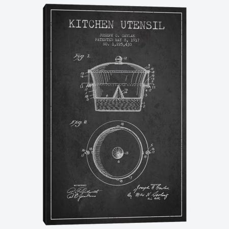 Kitchen Utensil Charcoal Patent Blueprint Canvas Print #ADP819} by Aged Pixel Canvas Art