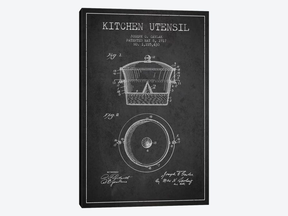 Kitchen Utensil Charcoal Patent Blueprint by Aged Pixel 1-piece Canvas Artwork