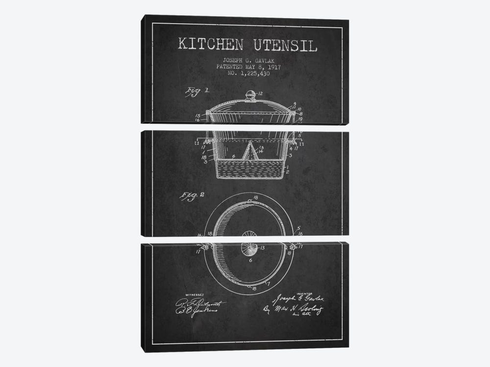 Kitchen Utensil Charcoal Patent Blueprint by Aged Pixel 3-piece Canvas Artwork