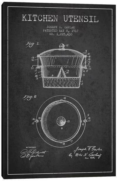 Kitchen Utensil Charcoal Patent Blueprint Canvas Art Print