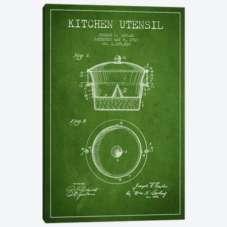 Kitchen Utensil Green Patent Blueprint Canvas Print #ADP820} by Aged Pixel Art Print