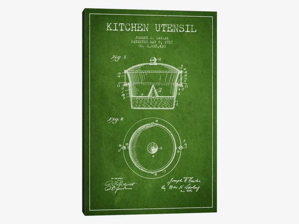 Kitchen Utensil Green Patent Blueprint by Aged Pixel 1-piece Canvas Wall Art