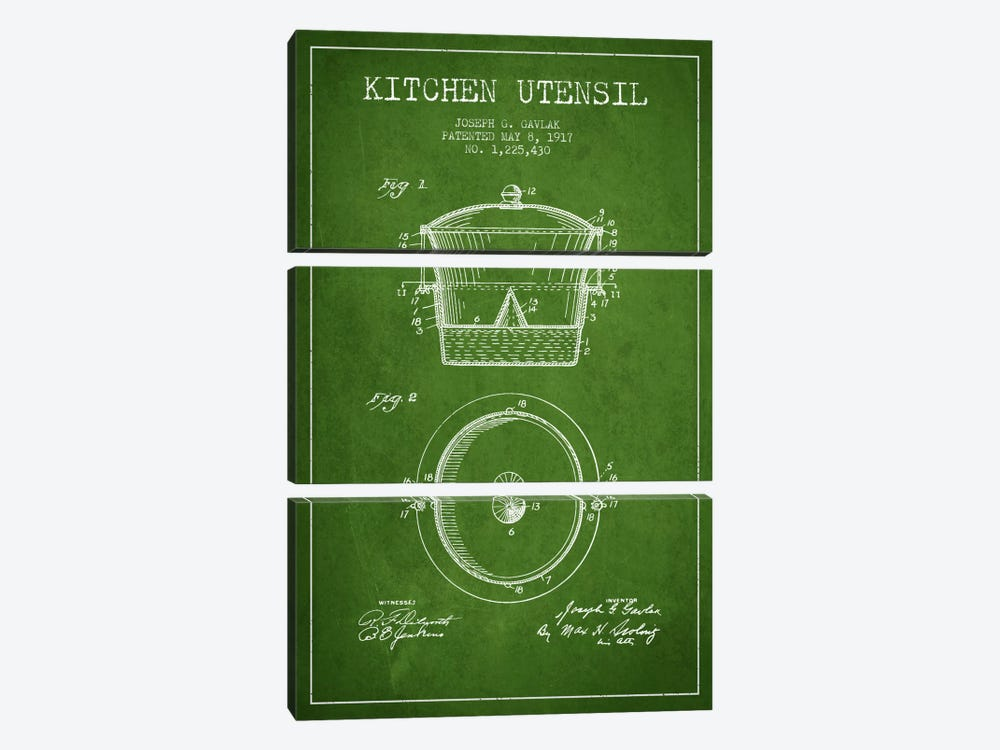 Kitchen Utensil Green Patent Blueprint by Aged Pixel 3-piece Canvas Artwork