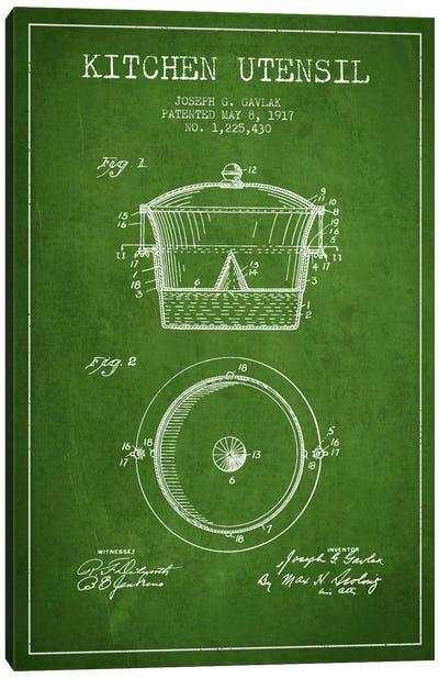 Kitchen Utensil Green Patent Blueprint Canvas Art Print