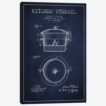 Kitchen Utensil Navy Blue Patent Blueprint Canvas Print #ADP821} by Aged Pixel Art Print