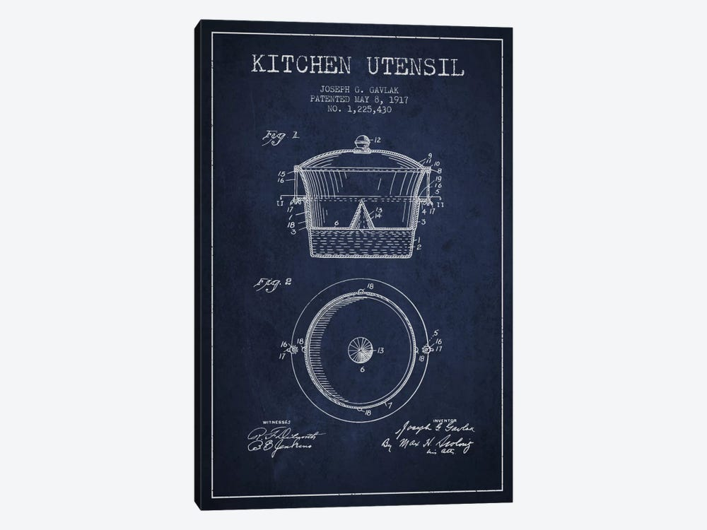 Kitchen Utensil Navy Blue Patent Blueprint by Aged Pixel 1-piece Canvas Print