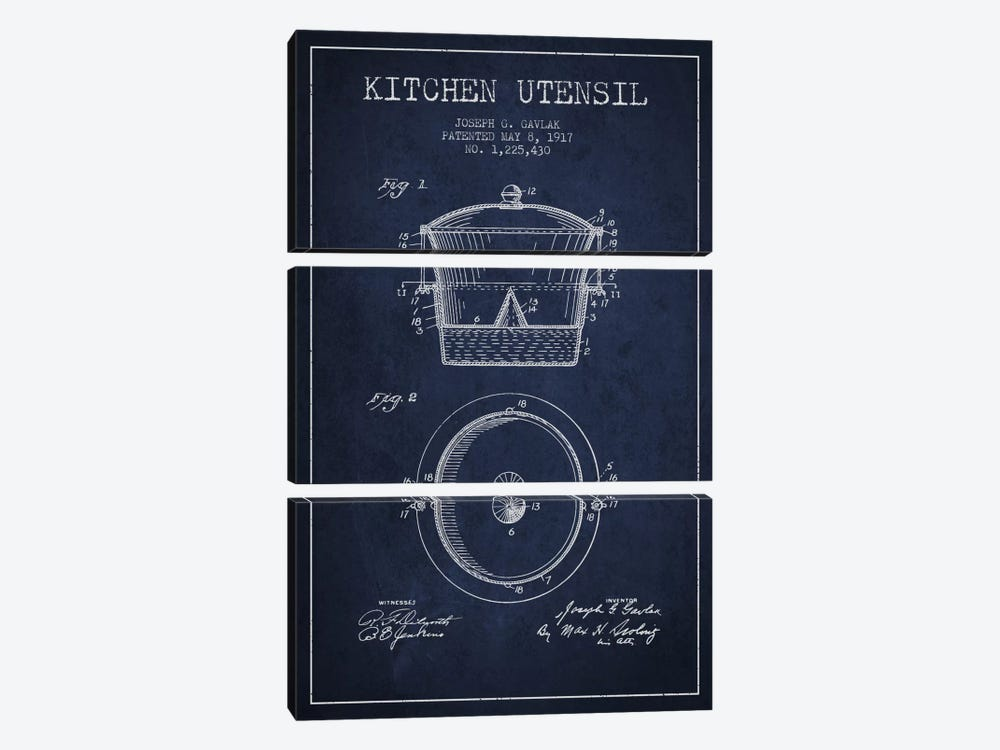 Kitchen Utensil Navy Blue Patent Blueprint by Aged Pixel 3-piece Canvas Art Print